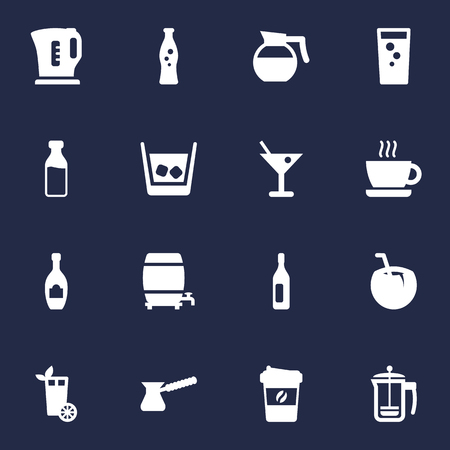 Set Of 16 Beverages Icons Set.Collection Of Turkish Coffee, Cognac, Espresso And Other Elements.