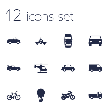 velocipede: Set Of 12 Traffic Icons Set.Collection Of Lorry, Coupe, Caravan And Other Elements. Illustration
