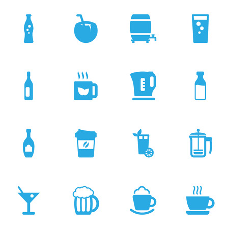 Set Of 16 Drinks Icons Set.Collection Of Alcohol, Cup, Electric Teapot And Other Elements.