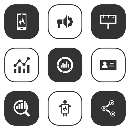 delineation: Set Of 9 Commercial Icons Set.Collection Of Loudspeaker, Share, Monitoring And Other Elements.