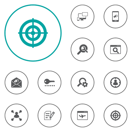 author: Set Of 12 Engine Icons Set.Collection Of Magnifier, Author Rights, Password And Other Elements. Illustration