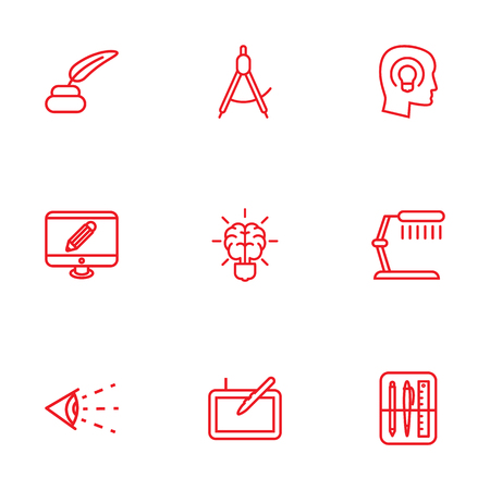 illuminator: Set Of 9 Creative Outline Icons Set.Collection Of Dividers, Inkwell With Pen, Monitor And Other Elements.
