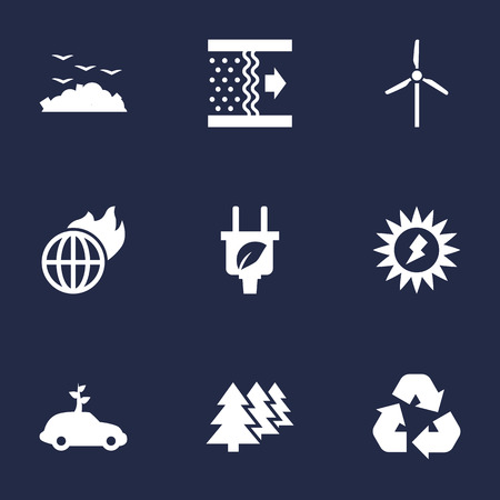 Set Of 9 Ecology Icons Set.Collection Of Car, Energy, Warm And Other Elements.