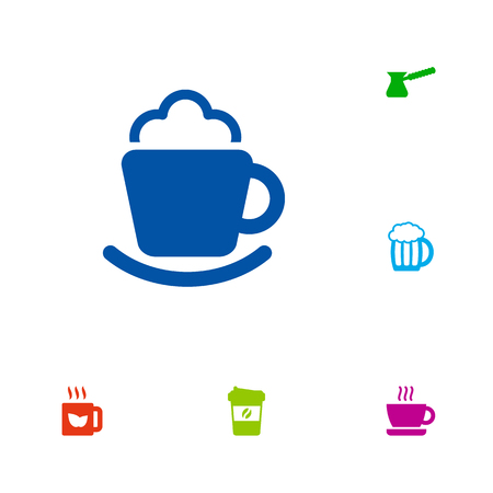 Set Of 6 Drinks Icons Set.Collection Of Green Tea, Espresso, Turkish Coffee And Other Elements.