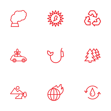 Set Of 9 Bio Outline Icons Set.Collection Of Global Warming, Solar, Recycling And Other Elements. Illustration