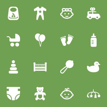 16 の子アイコン Set.Collection のおもちゃ、ベビーベッド、バスやその他の要素のセットです。