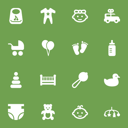 Set Of 16 Child Icons Set.Collection Of Toy, Cot, Bus And Other Elements. Illustration
