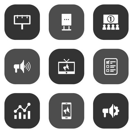 checklist: Set Of 9 Commercial Icons Set.Collection Of Customer Summary, Billboard, Bullhorn And Other Elements. Illustration