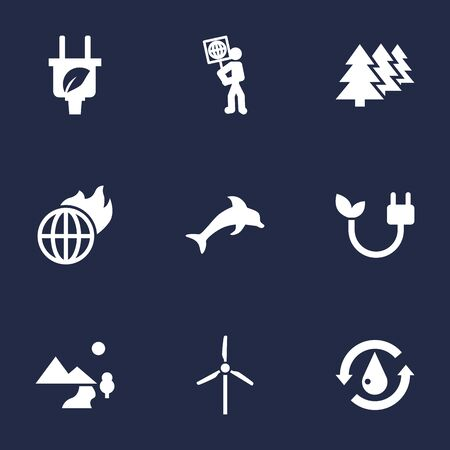 Set Of 9 Bio Icons Set.Collection Of Fish, Treatment, Reforestation And Other Elements.