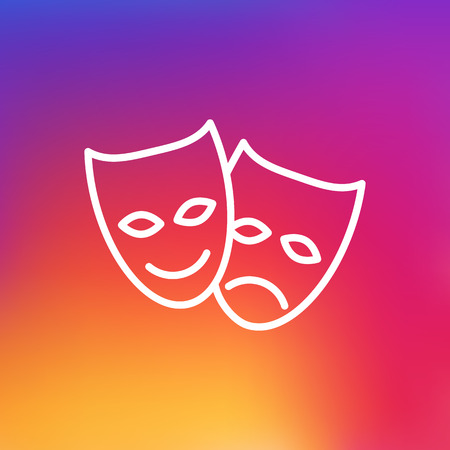 theatre masks: Isolated Theater Outline Symbol On Clean Background. Vector Masks Element In Trendy Style.
