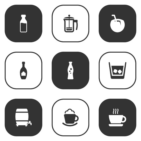 Set Of 9 Beverages Icons Set.Collection Of Fizzy Water, Cocktail, Milk Glass And Other Elements.