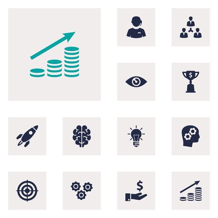 Set van 12 idee Icons Set. Verzameling van sponsor, intelligentie, eenheid en andere elementen. Vector Illustratie