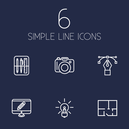 Set Of 6 Constructive Outline Icons Set.Collection Of Bezier Curve, Monitor, Property Plan And Other Elements.