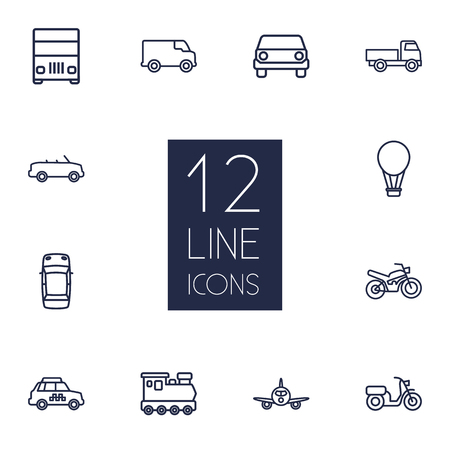 monorail: Set Of 12 Traffic Outline Icons Set.Collection Of Lorry, Moped, Van And Other Elements.