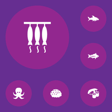 Collection Of Devilfish, Tunny, Smoked And Other Elements. Set Of 6 Food Icons Set.
