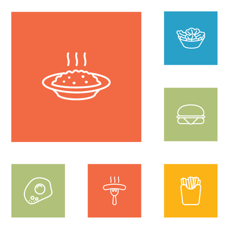 Set Of 6 Eat Outline Icons Set. Collection Of Sandwich, French Fries, Salad Elements. Illustration