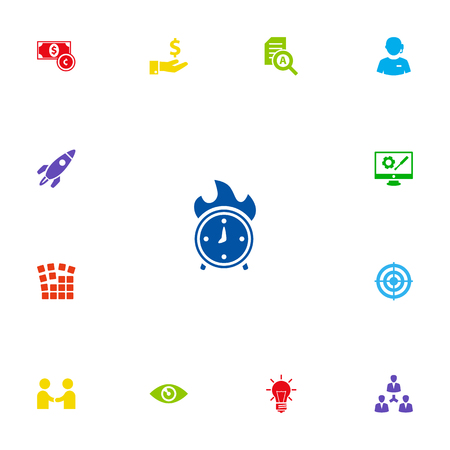 Set Of 13 Startup Icons Set.Collection Of Bulb, Startup Building, Call Center And Other Elements.