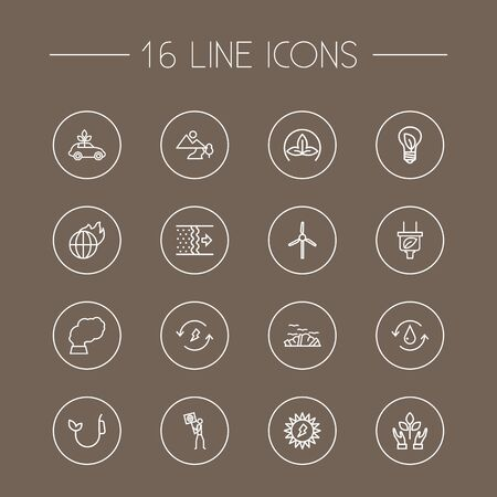 refinement: Set Of 16 Atmosphere Outline Icons Set. Collection Of Pollution, Fuel, Water And Other Elements.