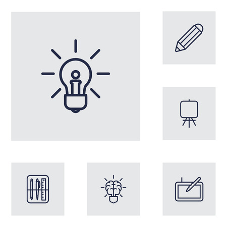 energy work: Set Of 6 Creative Outline Icons Set. Collection Of Idea, Easel, Graphic Tablet And Other Elements. Illustration