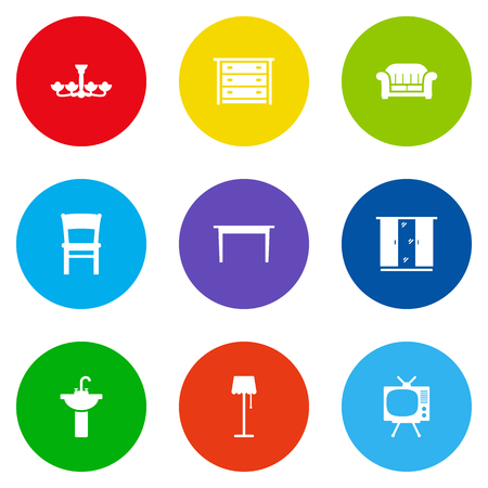 Set Of 9 Situation Icons Set.Collection Of Illuminator, Luster, Stool And Other Elements. Ilustração