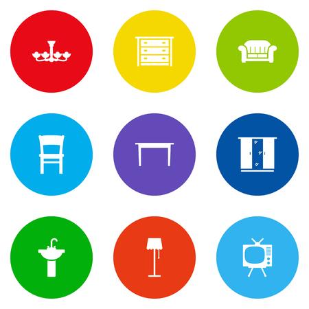 illuminator: Set Of 9 Situation Icons Set.Collection Of Illuminator, Luster, Stool And Other Elements. Illustration
