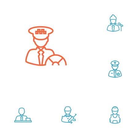 Set Of 6 Professions Outline Icons Set.Collection Of Singer, Worker, Soldier And Other Elements. Stock Illustratie