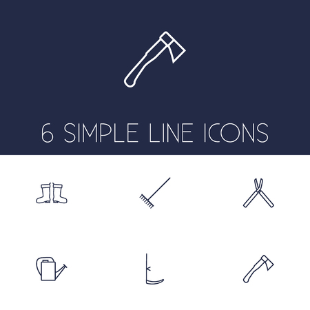 trim: Set Of 6 Household Outline Icons Set.Collection Of Waterproof Shoes, Hatchet, Shears And Other Elements.