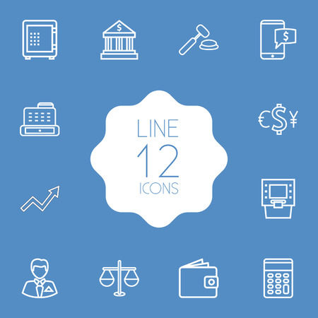 Set Of 12 Finance Outline Icons Set.Collection Of Cash Register, Electron Payment, Calculator And Other Elements.