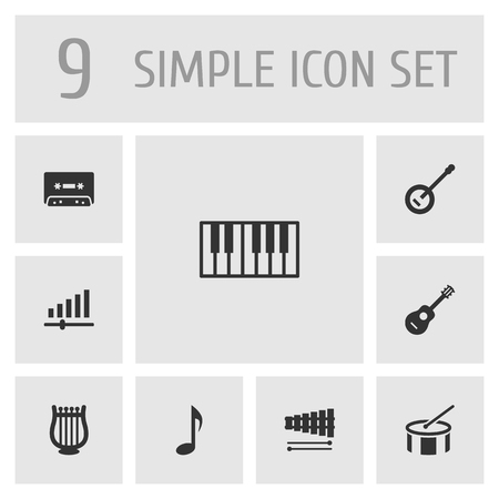 octave: Set Of 9 Melody Icons Set.Collection Of Tape, Acoustic, Percussion And Other Elements.
