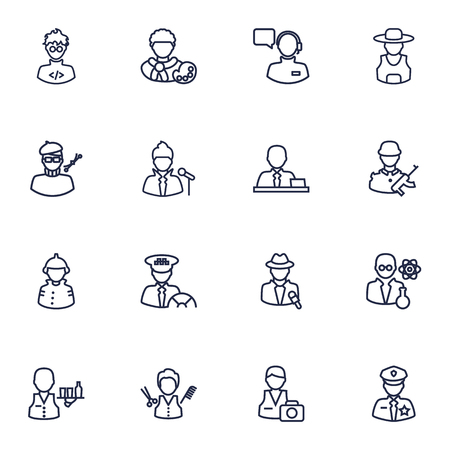scholarly: Set Of 16 Job Outline Icons Set.Collection Of Policeman, Firefighter, Designer And Other Elements. Illustration