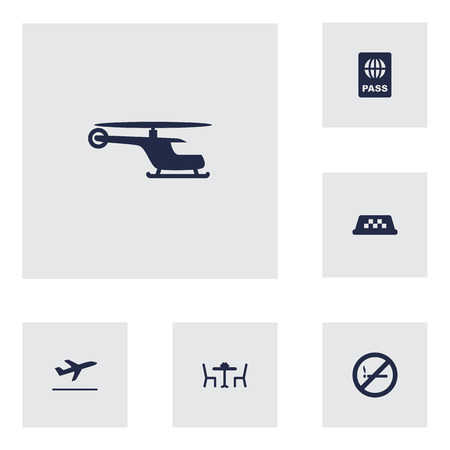 documentation: Set Of 6 Plane Icons Set.Collection Of Passport, Leaving, Forbidden And Other Elements.