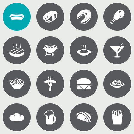 Set Of 16 Eat Icons Set. Collection Of Fried Poultry, Burger, Potato And Other Elements.