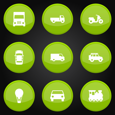 monorail: Collection Of Truck, Airship, Wagon And Other Elements. Set Of 9 Traffic Icons Set.