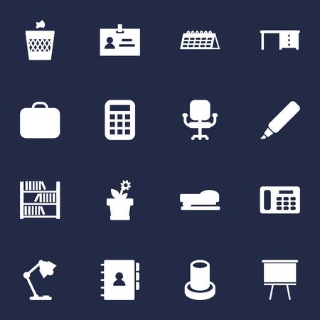 Set Of 16 Bureau Icons Set. Collection Of Case, Illuminator, Phone And Other Elements. 向量圖像