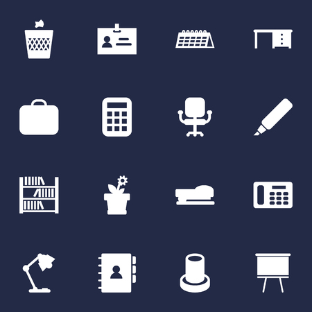 Set Of 16 Bureau Icons Set. Collection Of Case, Illuminator, Phone And Other Elements. Illustration