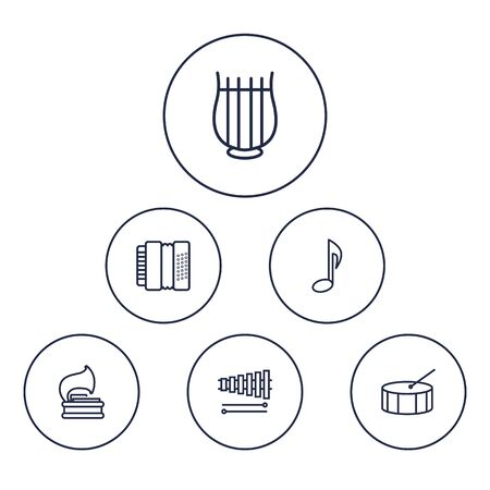 crotchet: Collection Of Harmonica, Vinyl, Percussion And Other Elements. Set Of 6 Melody Outline Icons Set.