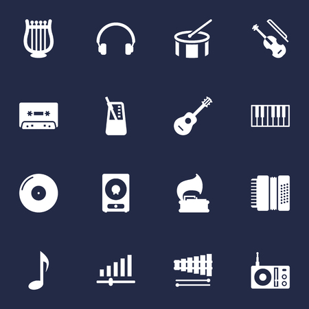 Collection Of Radio, Knob, Tone Symbol And Other Elements. Set Of 16 Melody Icons Set. Illustration