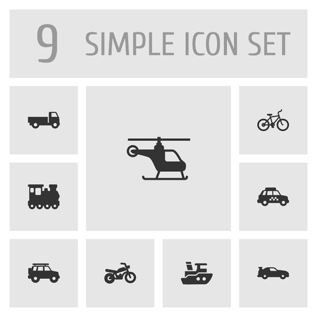 camion: Set Of 9 Shipping Icons Set. Collection Of Boat, Wagon, Hatchback And Other Elements.