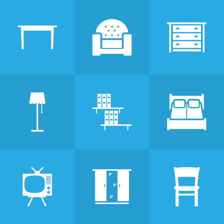 kitchen cabinets: Set Of 9 Situation Icons Set. Collection Of Sofa, Commode, Bookcase And Other Elements. Illustration