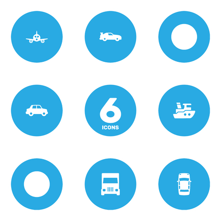 delivery truck: Collection Of Aircraft, Side View, Boat And Other Elements. Set Of 6 Shipping Icons Set. Illustration