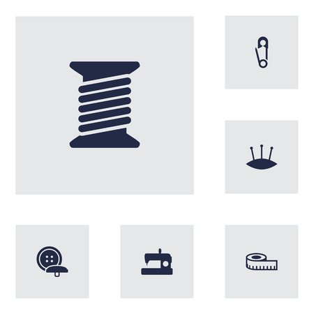 Set Of 6 Stitch Icons Set.Collection Of Pins, Spool, Meter And Other Elements.