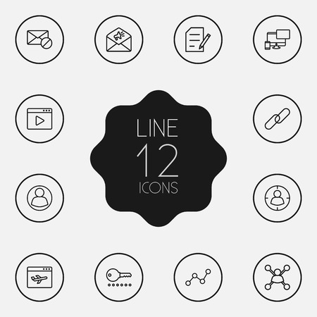 dossier: Set Of 12 Engine Outline Icons Set.Collection Of Landing Page, Password, Advertising Elements.
