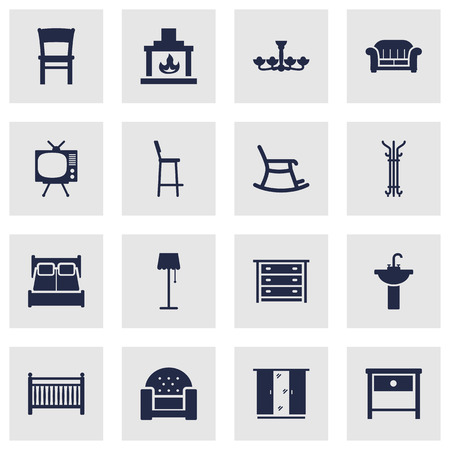 luster: Set Of 16 Situation Icons Set. Collection Of Luster, Couch, Chimney And Other Elements.