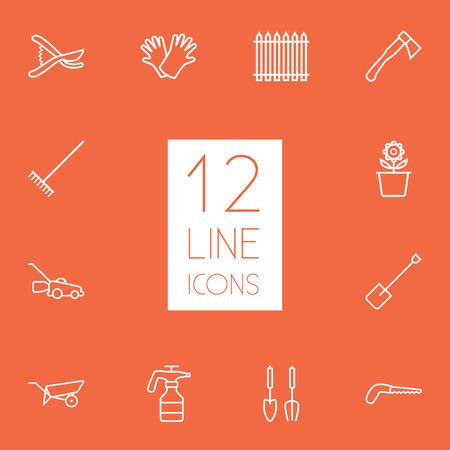 12 가구 개요 아이콘 집합의 집합입니다. Harrow, Secateurs, 원자와 다른 요소의 컬렉션입니다.