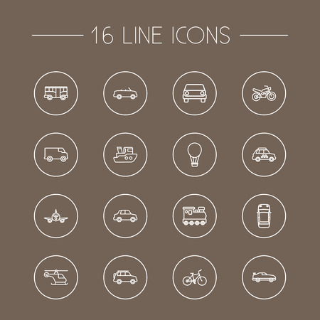 velocipede: Collection Of Top, Car, Cabriolet And Other Elements. Set Of 16 Traffic Outline Icons Set.