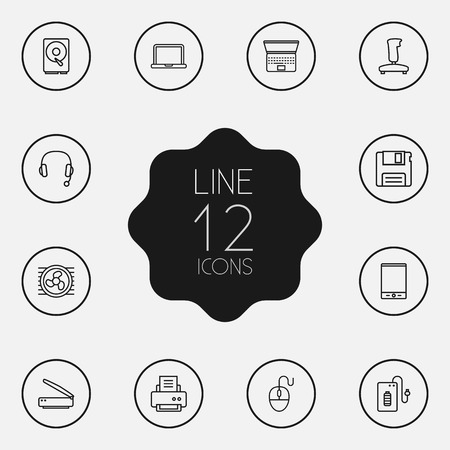 minicomputer: Set Of 12 Computer Outline Icons Set. Collection Of Headphone, Cooler, Laptop And Other Elements.