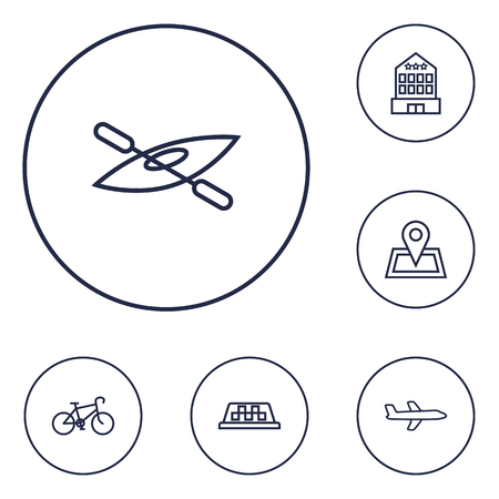 oars: Set Of 6 Journey Outline Icons Set. Collection Of Pin, Bike, Taxi And Other Elements. Illustration