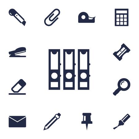 Ensemble de 13 Set d'icônes de papeterie. Collection de Calculer, Clip, Surligneur et autres éléments. Banque d'images - 82724815