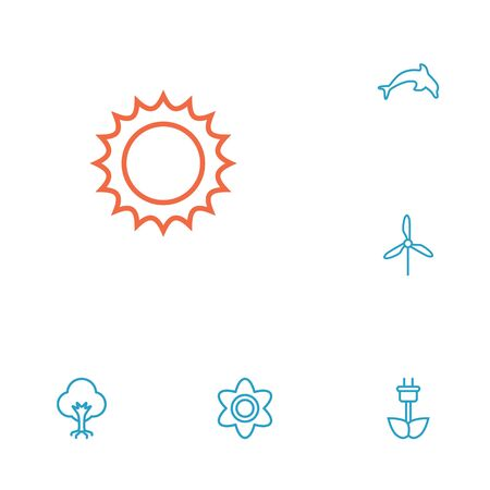 Set Of 6 Natural Outline Icons Set.Collection Of Sun, Wood, Electric Mill And Other Elements. Illustration