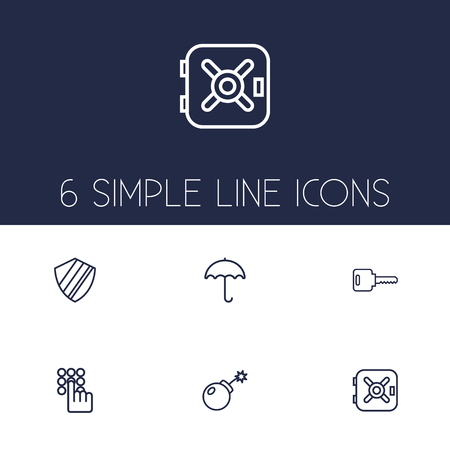 Set Of 6 Procuring Outline Icons Set.Collection Of Protection, Keypad, Parasol And Other Elements. Illustration